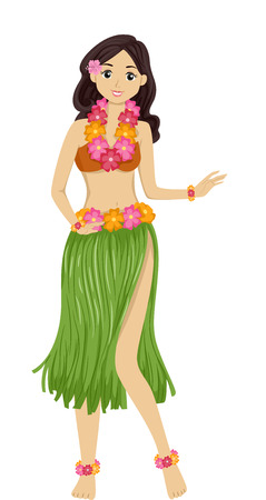 hawaiian lei: Illustration Featuring a Girl Dancing a Hawaiian Dance