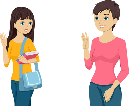 Illustration Featuring a Teenaged Girl Waving Goodbye to Her Mom Vector