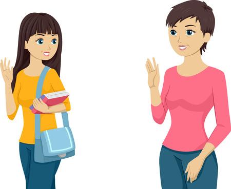 despedida: Ilustraci�n con un Teenaged Muchacha que agita adi�s a su mam� Vectores