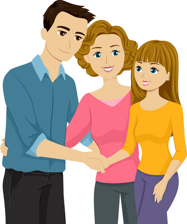 Illustration Featuring a Mother Introducing Her Daughter to Her Stepfather Vector
