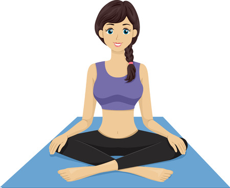 preadult: Illustration Featuring a Girl Sitting on a Yoga Mat