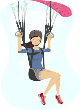 Illustration Featuring a Girl Maneuvering a Paraglider Vector