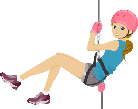 Illustration Featuring a Girl Rappelling Down Vectores