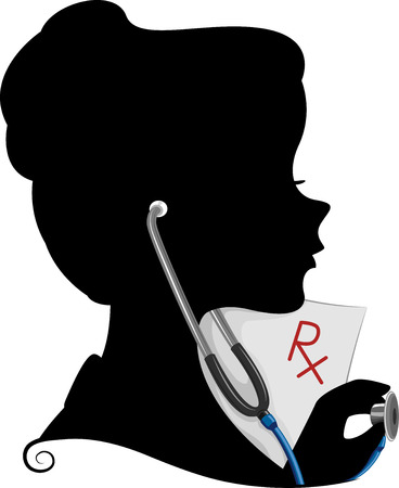 Illustration Featuring the Silhouette of a Doctor Vector