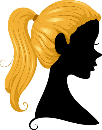 cameo: Illustration Featuring the Silhouette of a Girl Wearing a Ponytail