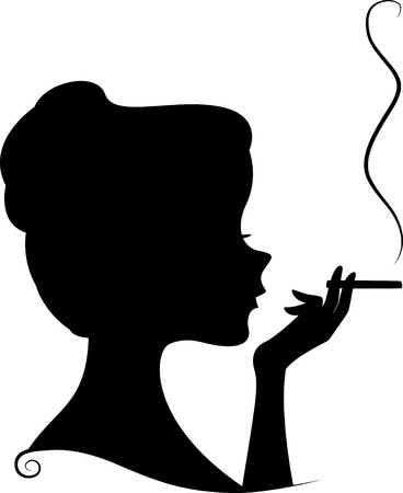 Illustration Featuring the Silhouette of a Female Smoker Vector