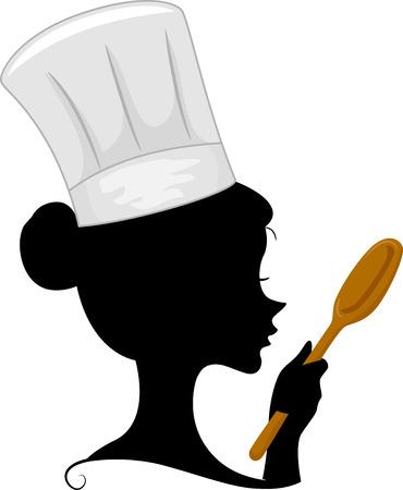 k�che: Illustration, die die Silhouette einer weiblichen Chef
