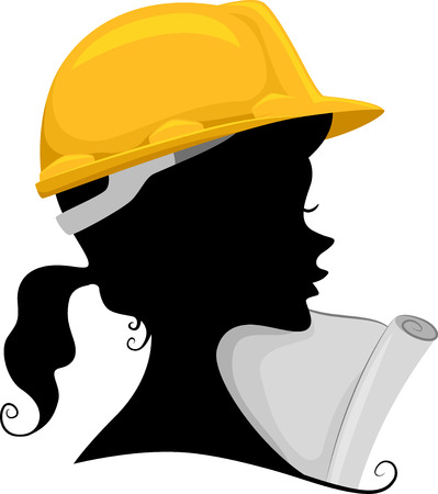 Illustration Featuring the Silhouette of a Female Engineer Stock Illustratie