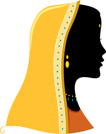 woman side view: Illustration Featuring the Silhouette of an Indian Woman Illustration
