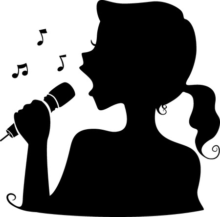 feminino: Ilustração que caracteriza a silhueta de uma cantora Ilustração