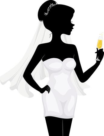 despedida de soltera: Ilustración con la silueta de un Bachelorette con un vaso de vino