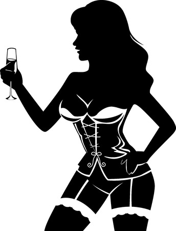corset: Illustration Featuring the Silhouette of a Female Stripper at a Bachelors Party