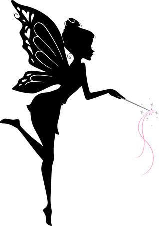 fee zauberstab: Illustration, die eine Fee Winken ihren Zauberstab Illustration