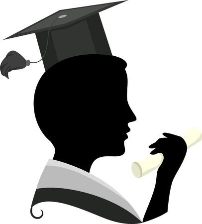toga: Ilustración con la silueta de un hombre que llevaba un traje de graduación