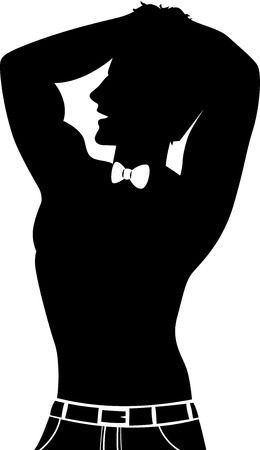 Illustration Featuring the Silhouette of a Male Dancer at a Bachelorette's Party