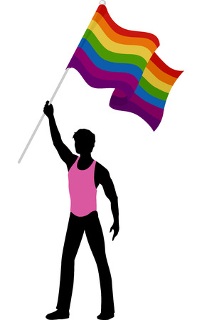 bisexual: Illustration Featuring the Silhouette of a Man Carrying a Rainbow Flag Illustration