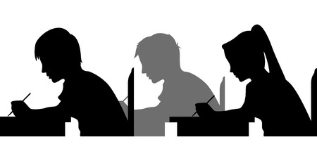 female student: Illustration Featuring the Silhouettes of Students Taking an Exam