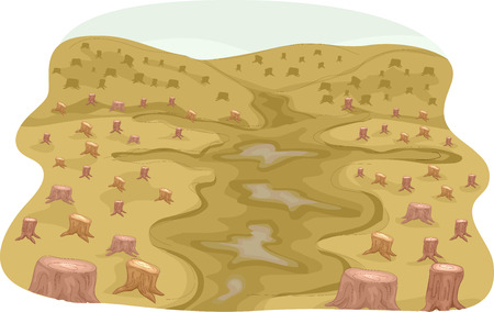deforestation: Illustration Featuring a Denuded Forest