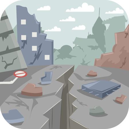 지진에 의해 황폐화 도시를 갖춘 그림