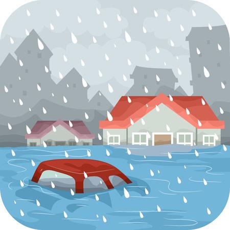 Illustratie die een overstroomde stad