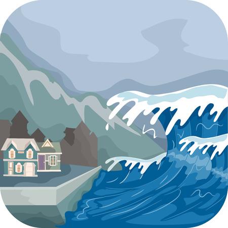 Illustration Featuring a Tsunami Engulfing a Village