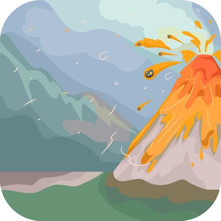 calamiteit: Illustratie Met een uitbarstende vulkaan Stock Illustratie