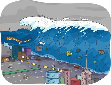 calamiteit: Illustratie die een Tsunami overspoelt een Stad