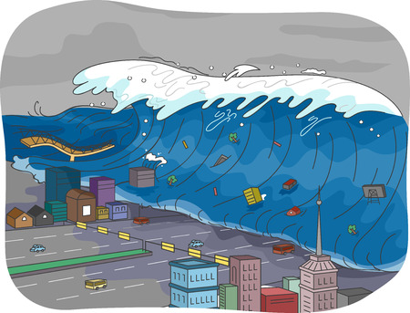 engulf: Illustration Featuring a Tsunami Engulfing a City
