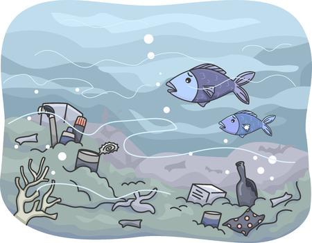 Illustratie Met Trash die verzameld Under the Sea Vector Illustratie