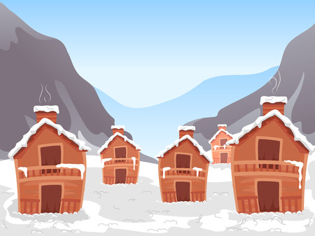 woody: Illustration Featuring a Ski Village Illustration