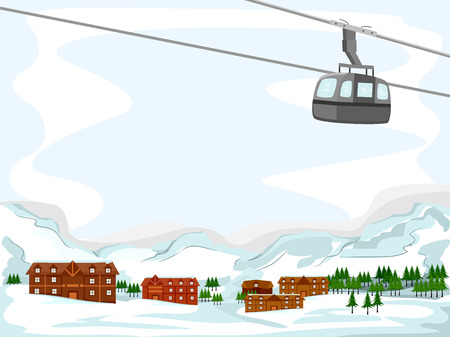 ski resort: Background Illustration Featuring a Ski Lodge