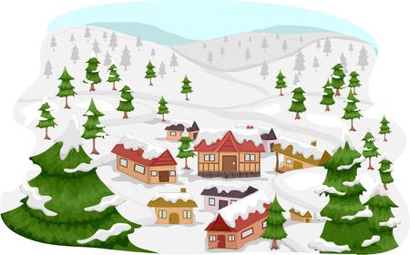 ski lodge: Illustration Featuring a Ski Village Illustration