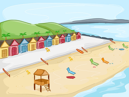beach hut: Illustration Featuring Cabins by the Beach Illustration