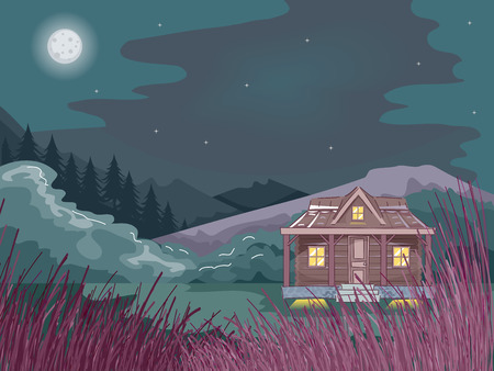 log cabin: Illustration Featuring a Cabin in the Woods Illustration