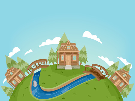 rural community: Illustration Featuring a Village Full of Log Cabins