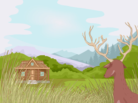 lodge: Illustration Featuring a Hunting Cabin Illustration