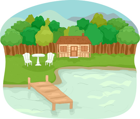 lake house: Illustration Featuring a Cabin by the Lake