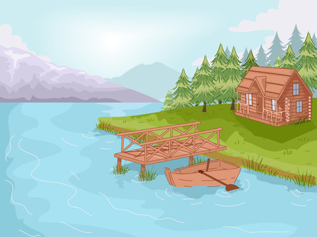 lakeside: Illustration Featuring a Cabin by the Lake
