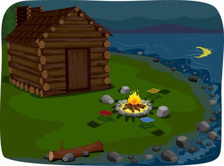 Ilustración que ofrece una cabaña junto al lago Foto de archivo - 33520078