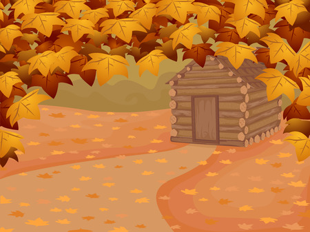 Background Illustration Featuring a Log Cabin in Autumn Vector