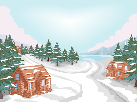 lodge: Illustration Featuring a Log Cabin Village in Winter