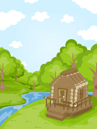 water stream: Illustration Featuring a Log Cabin Near a Stream