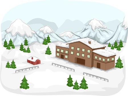 mountainous: Illustration Featuring a Ski Lodge