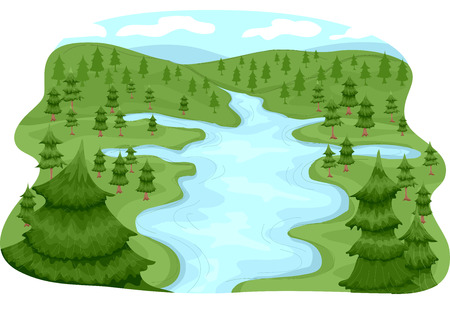 Illustration, die eine Flussgebiets Standard-Bild - 33520083