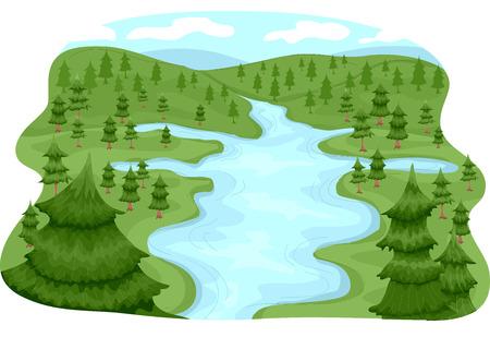 Ilustración con una cuenca de río Ilustración de vector