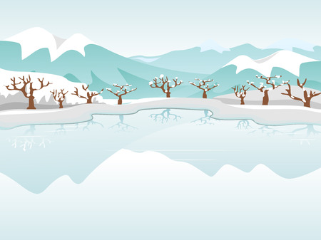 snowcapped landscape: Illustration Featuring a Frozen Lake