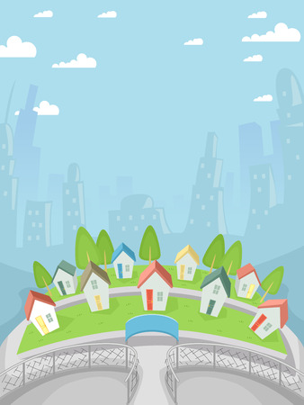 Illustration Featuring a Village Full of Tiny Houses Vector