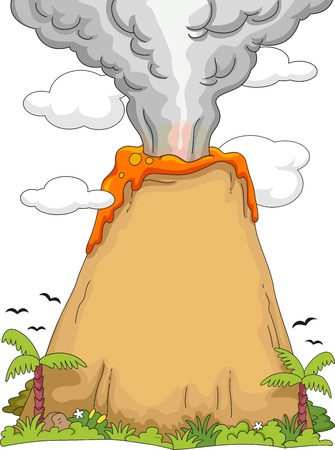 Illustration Featuring an Erupting Volcano Vector