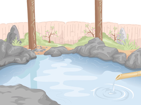 Illustration Featuring an Indoor Hot Spring 矢量图像