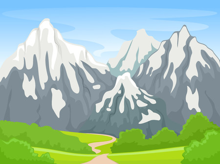 Illustration Featuring a Snowy Mountain Scene  イラスト・ベクター素材